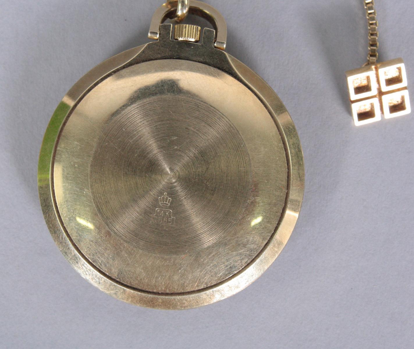 Taschenuhr mit Uhrenkette, 14 Karat Gelbgold-3