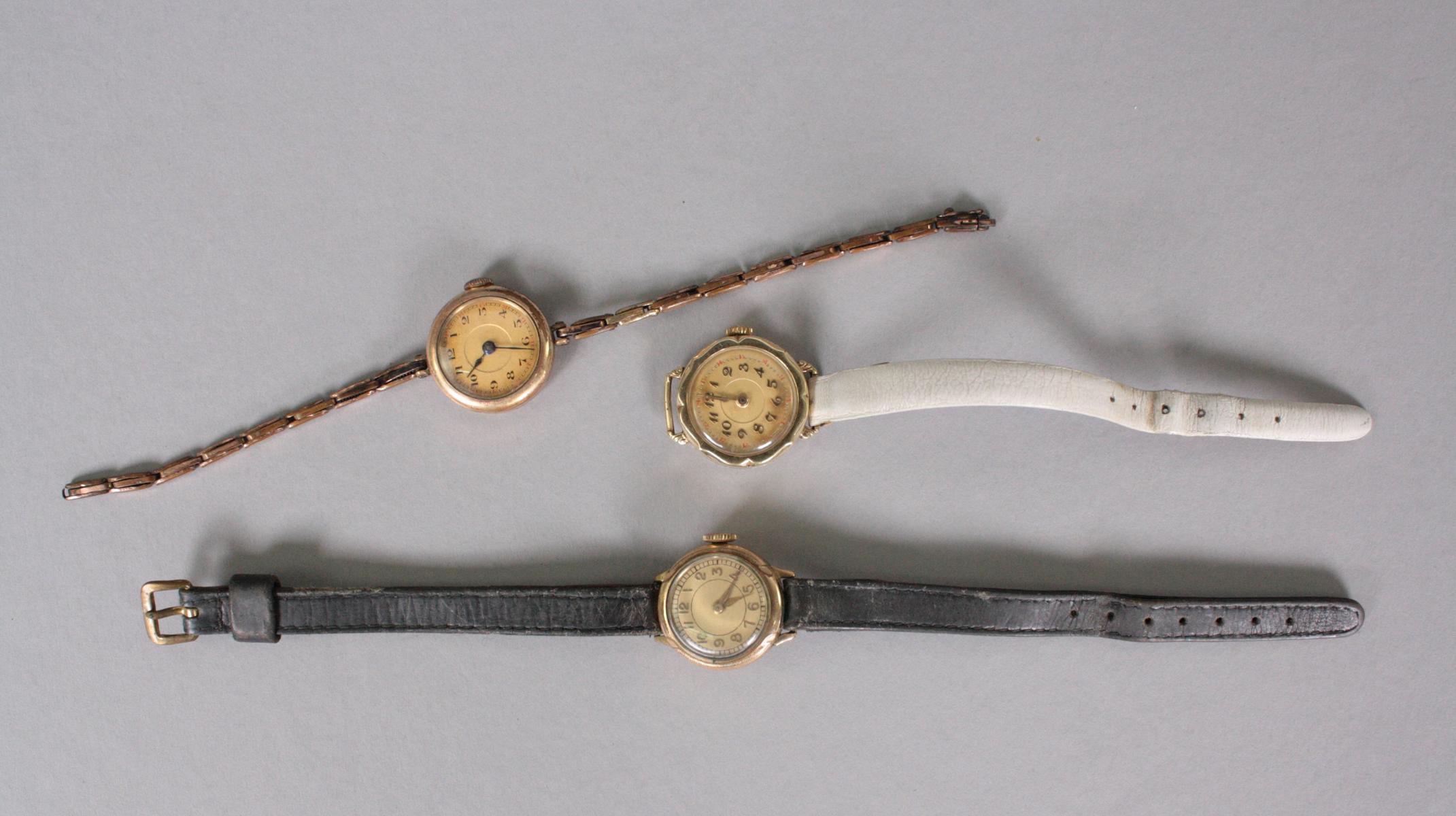 3 Antike Damenarmbanduhren, 14 Karat Gelbgold