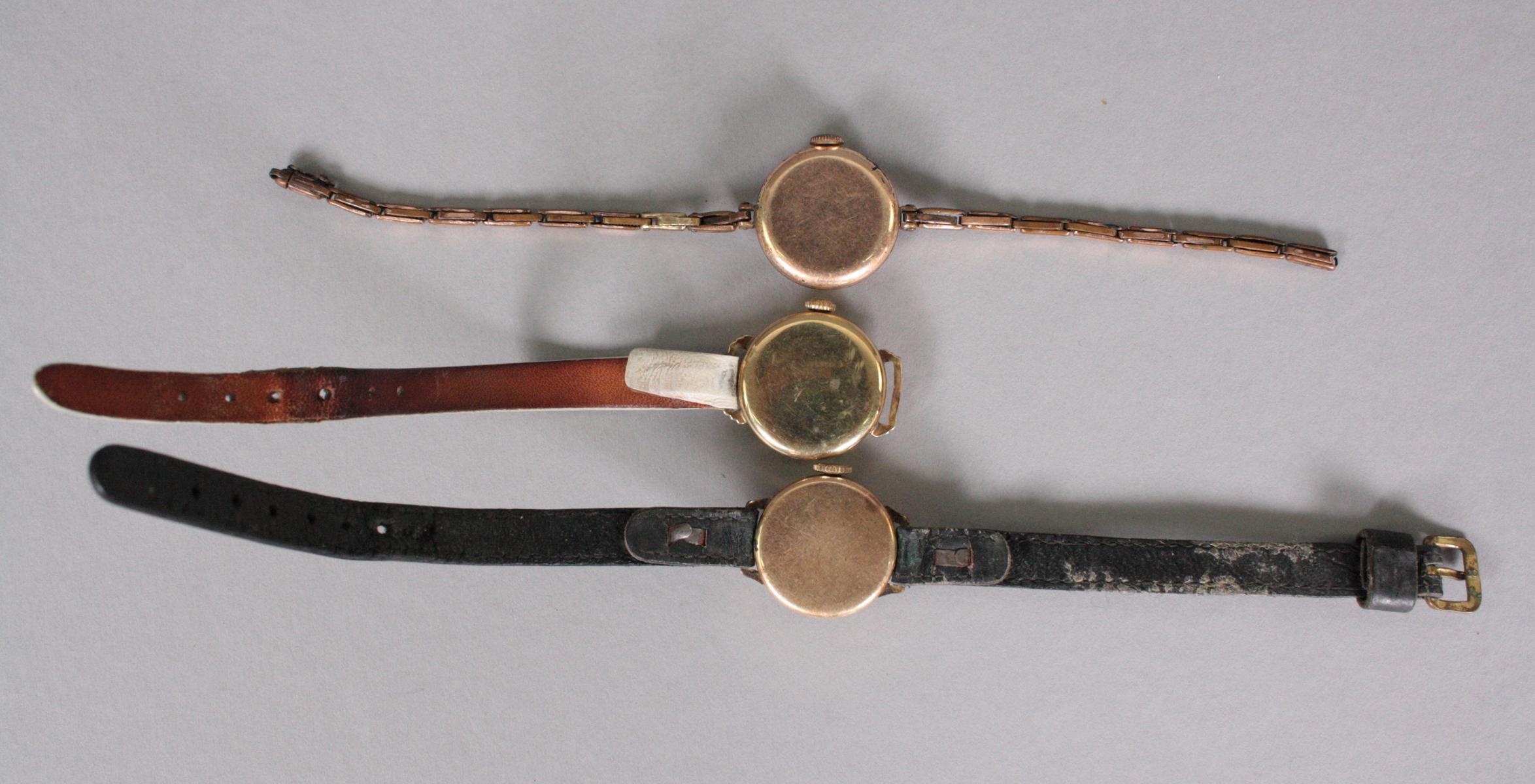3 Antike Damenarmbanduhren, 14 Karat Gelbgold-2