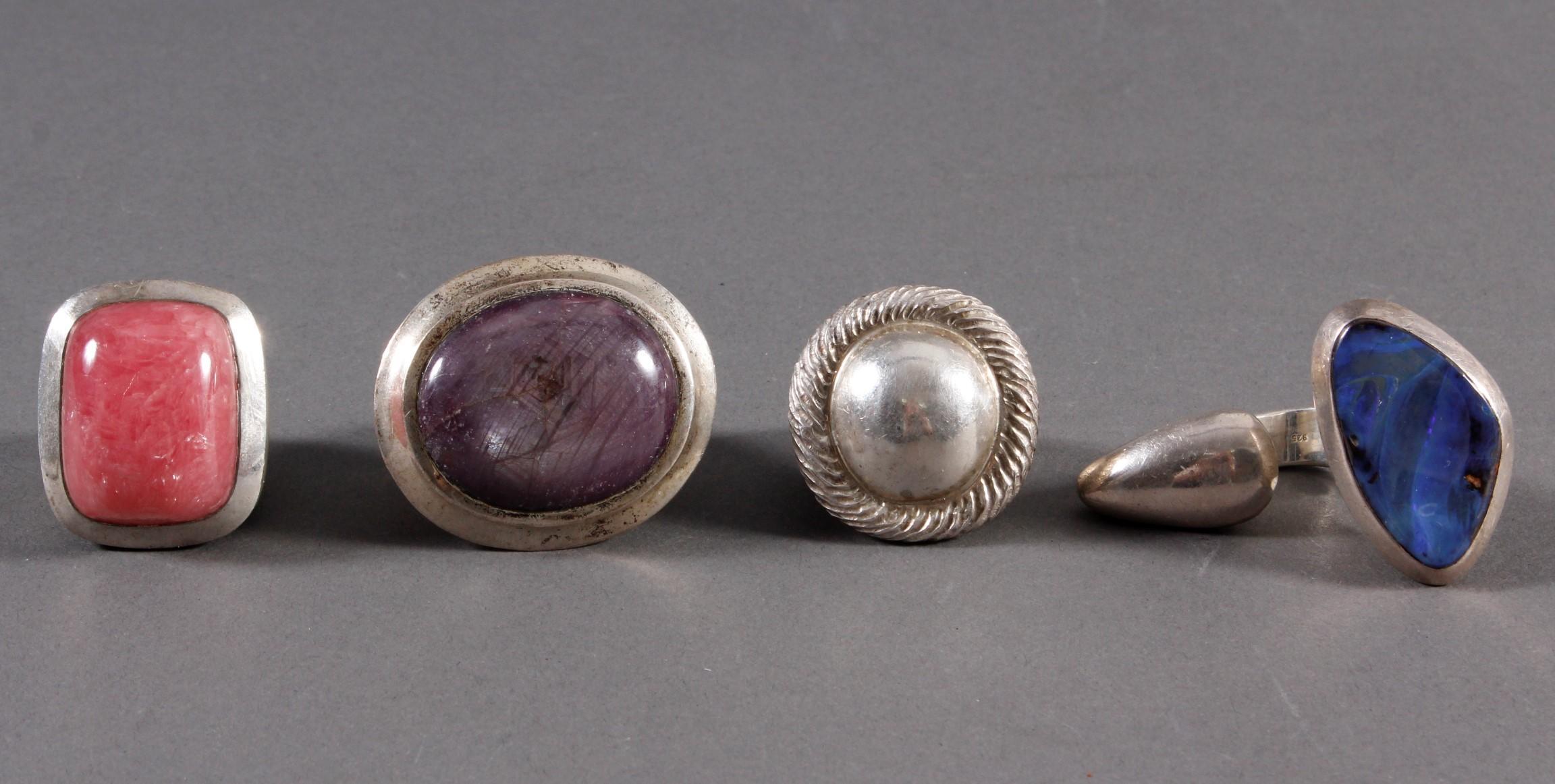 4 schwere Silberringe, Sterlingsilber