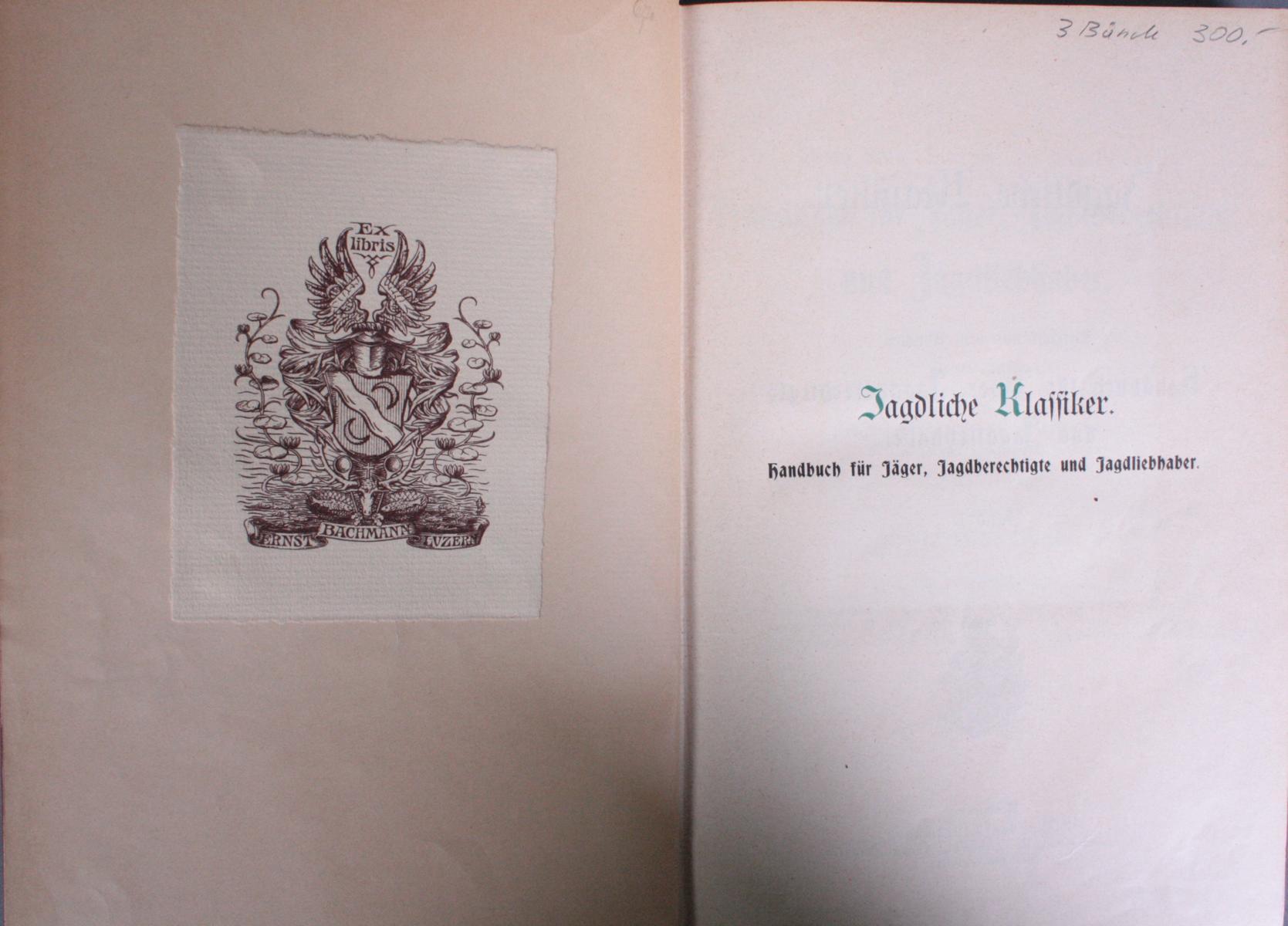 Handbuch für Jäger in Drei Bänden. Dietrichs aus dem Winckell, Band I-III-2