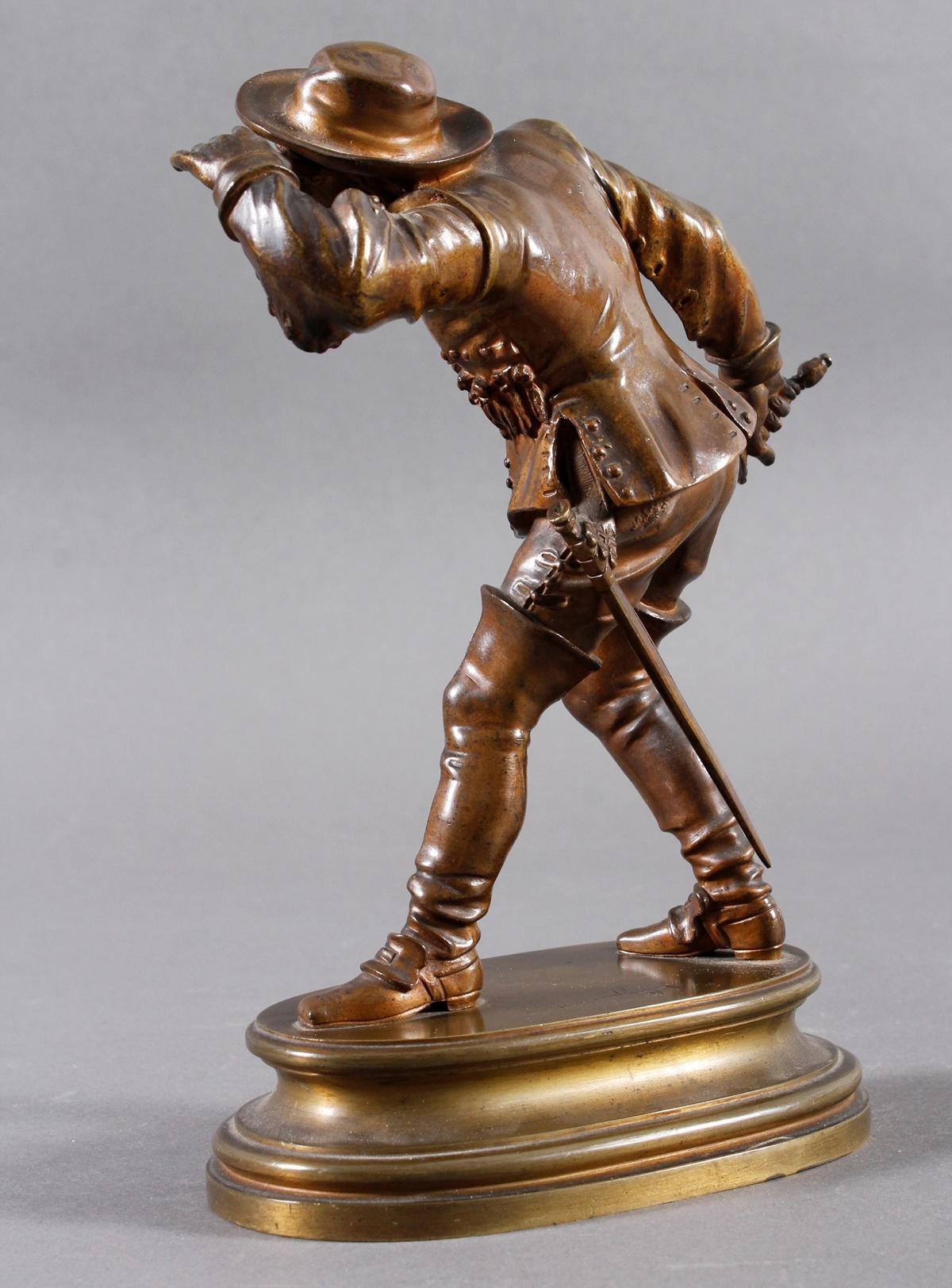 Emile Guillemin (1841-1907), Bronze Skulptur, Musketeer-2