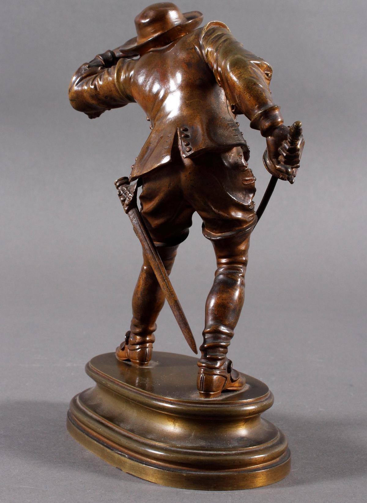 Emile Guillemin (1841-1907), Bronze Skulptur, Musketeer-3