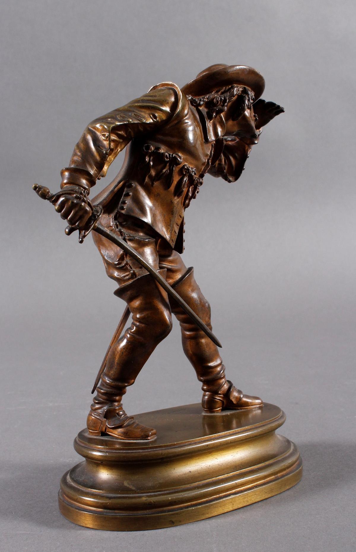 Emile Guillemin (1841-1907), Bronze Skulptur, Musketeer-4