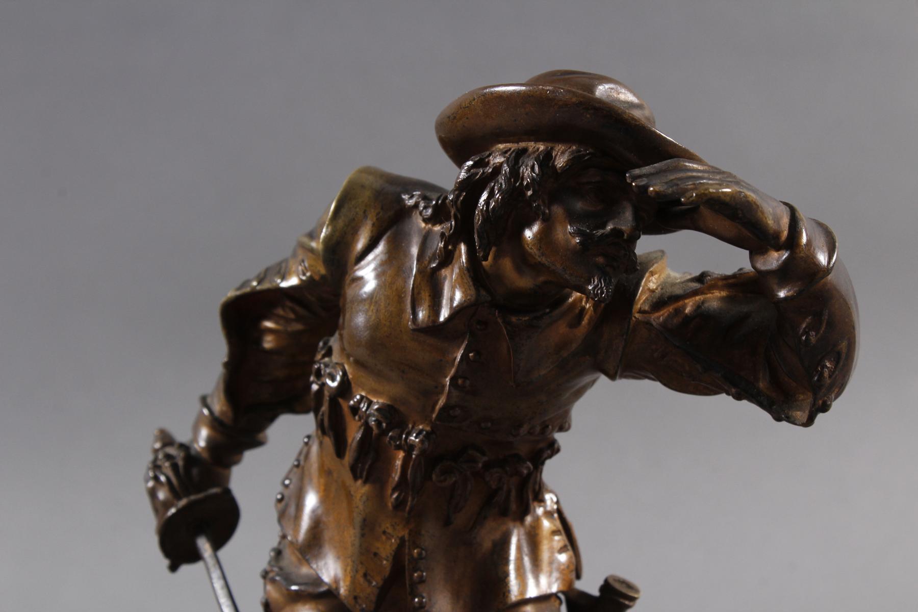 Emile Guillemin (1841-1907), Bronze Skulptur, Musketeer-5