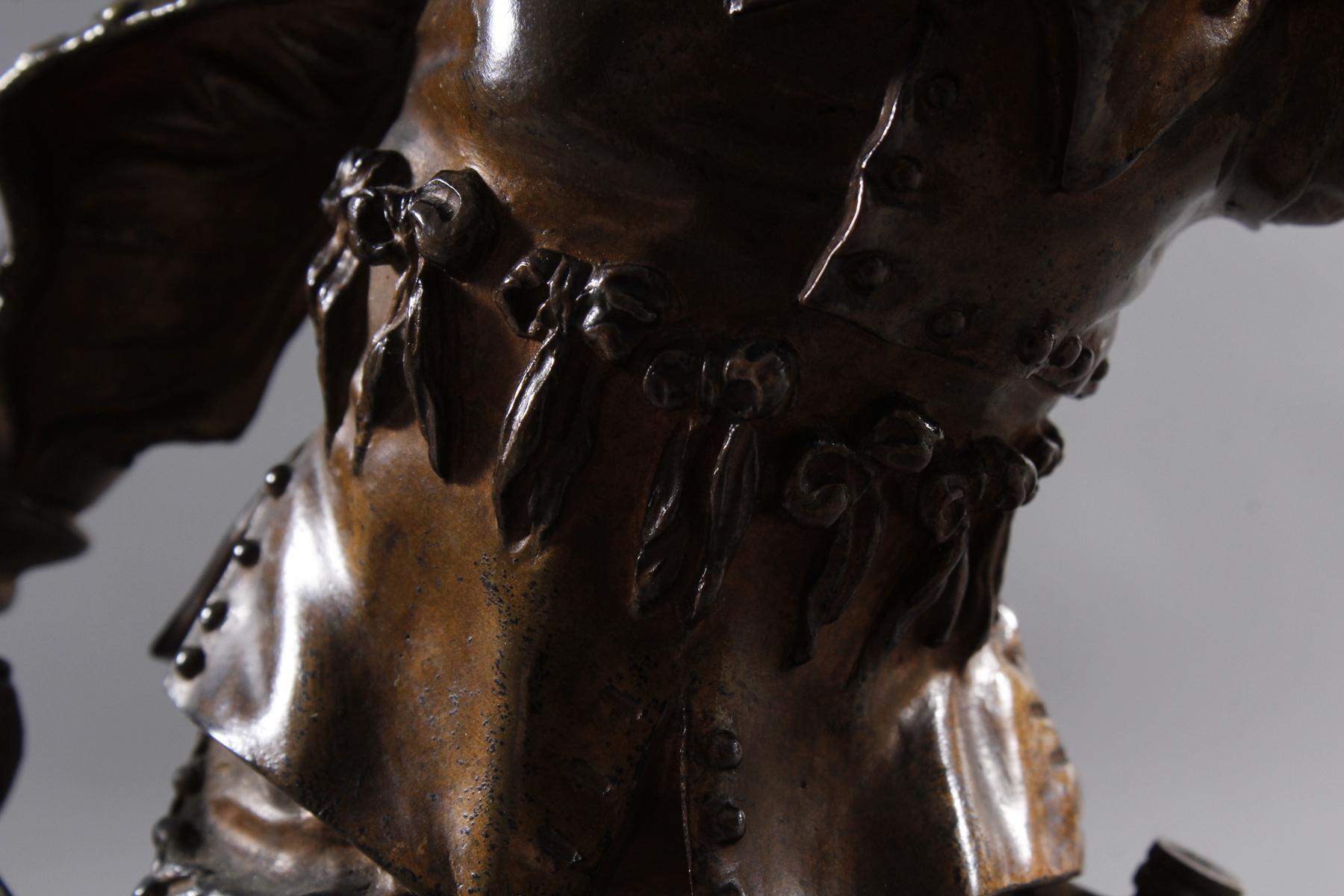 Emile Guillemin (1841-1907), Bronze Skulptur, Musketeer-6
