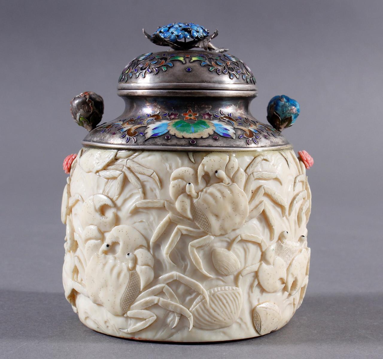 Elfenbein Dose, Japan, Meiji Periode, 19. Jahrhundert