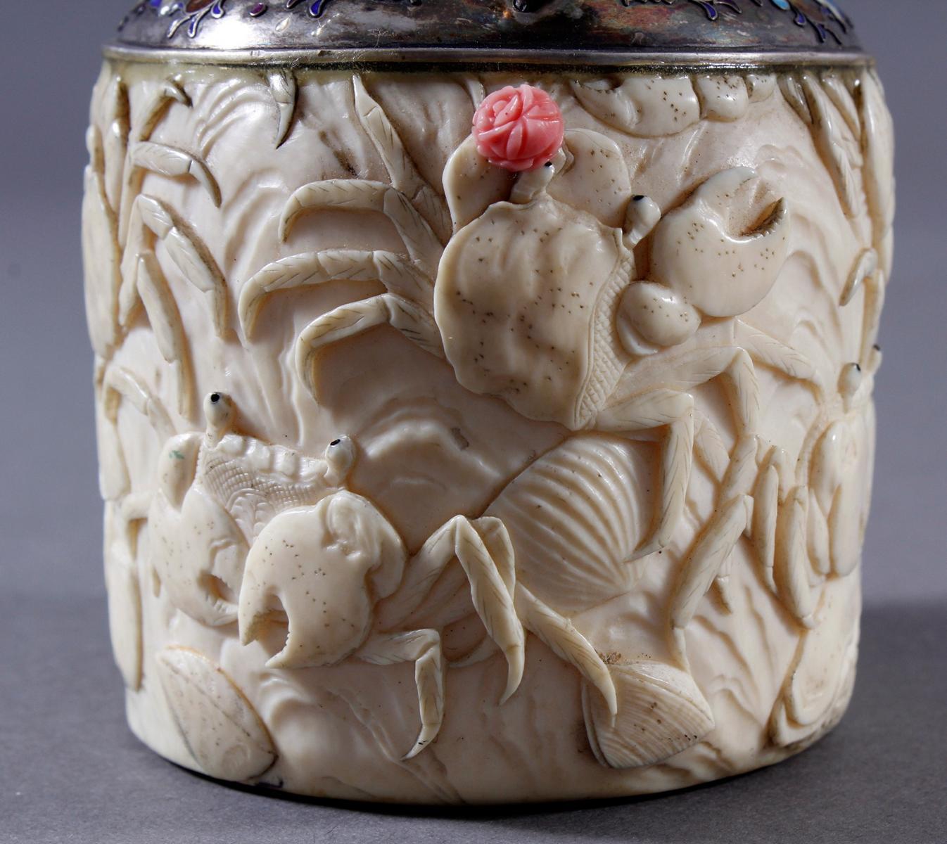 Elfenbein Dose, Japan, Meiji Periode, 19. Jahrhundert-3