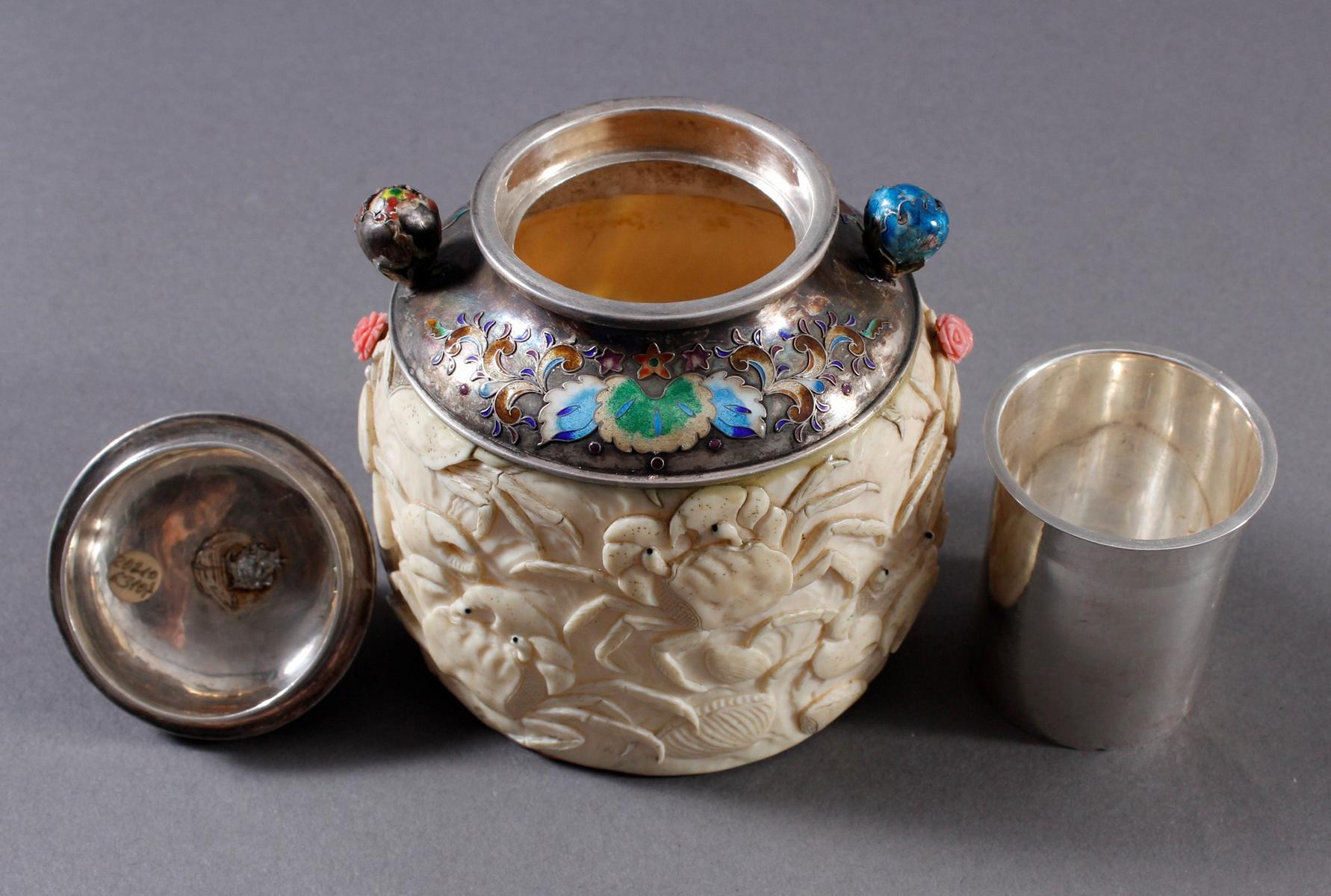 Elfenbein Dose, Japan, Meiji Periode, 19. Jahrhundert-8