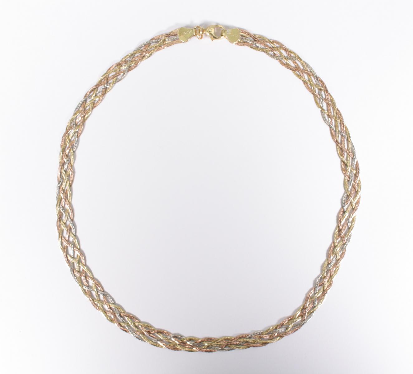 Halskette aus 14 Karat Weiß-, Rot-, und Gelbgold