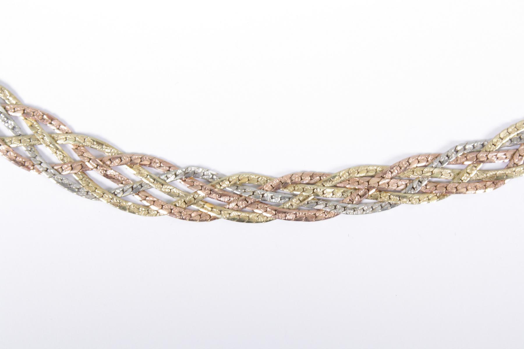 Halskette aus 14 Karat Weiß-, Rot-, und Gelbgold-2