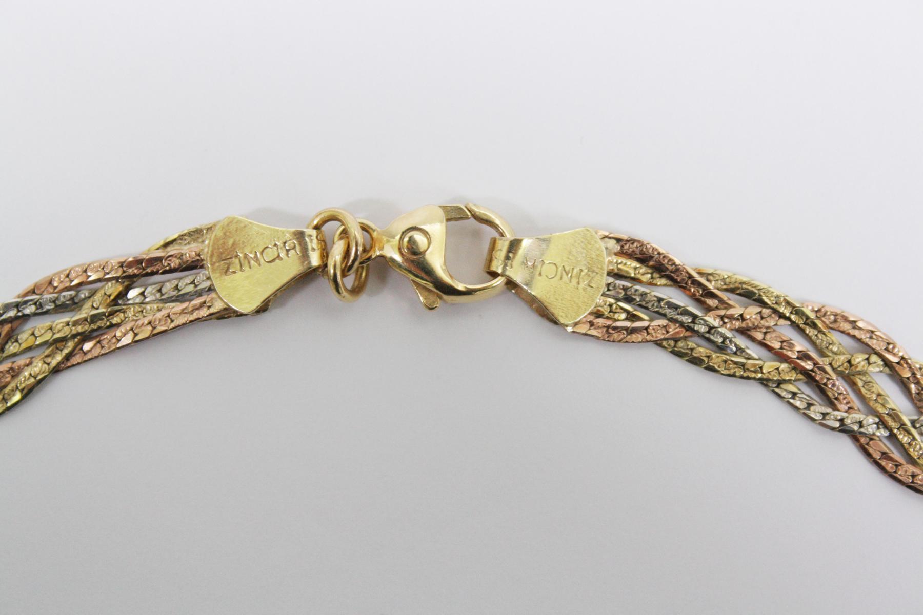 Halskette aus 14 Karat Weiß-, Rot-, und Gelbgold-3