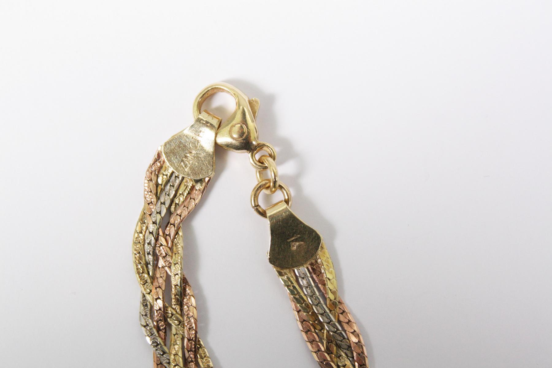 Halskette aus 14 Karat Weiß-, Rot-, und Gelbgold-4