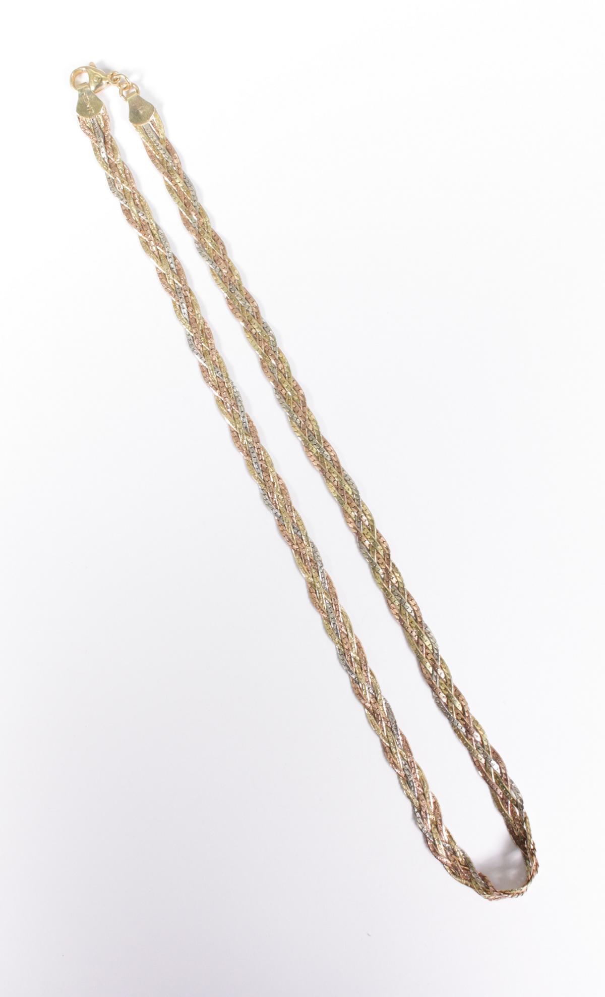 Halskette aus 14 Karat Weiß-, Rot-, und Gelbgold-5