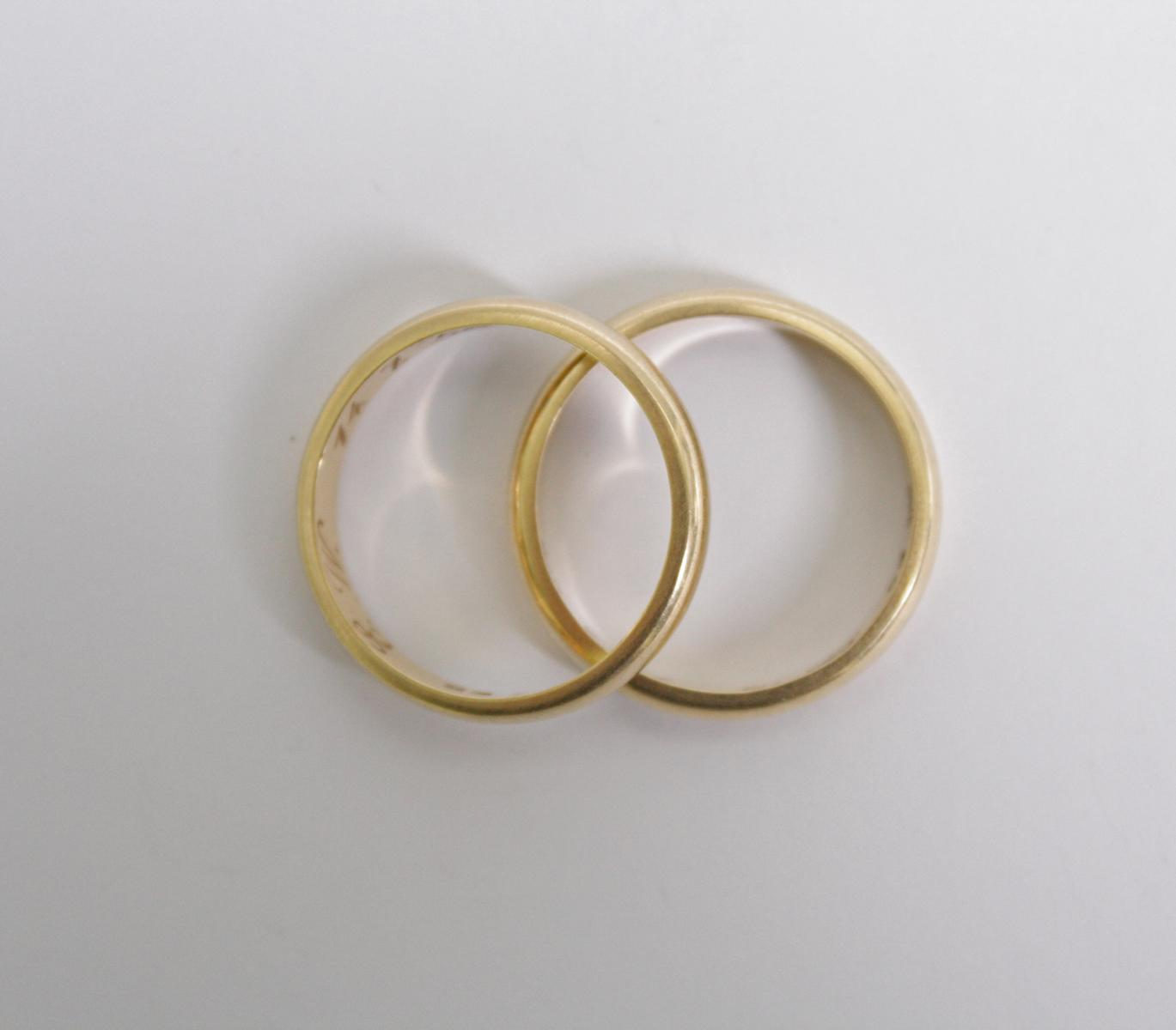 Paar Eheringe, 14 Karat Gelbgold