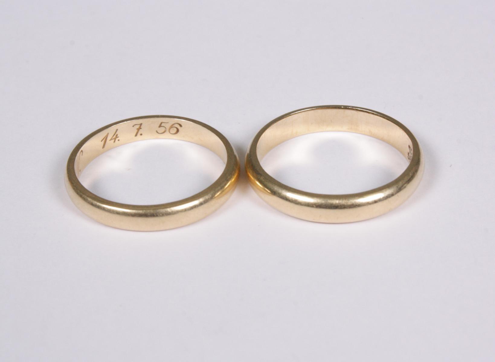 Paar Eheringe, 14 Karat Gelbgold-2