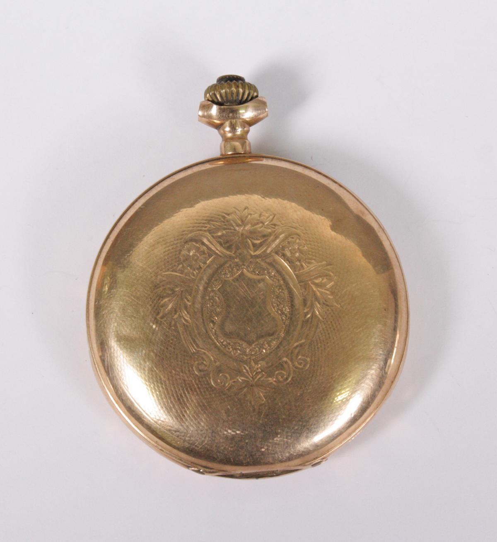 Goldene Herrentaschenuhr, 14 Karat Gelbgold-2
