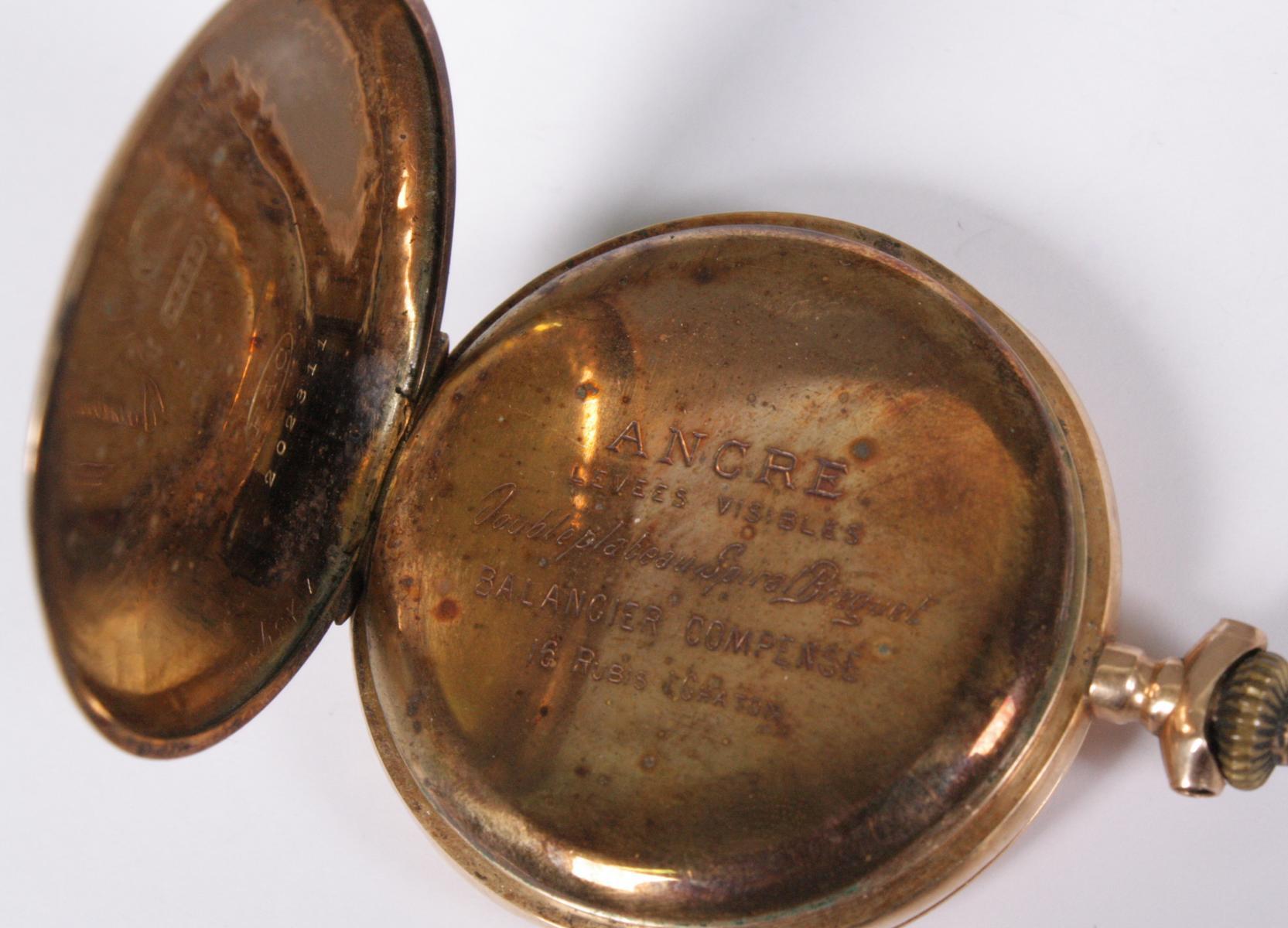 Goldene Herrentaschenuhr, 14 Karat Gelbgold-4