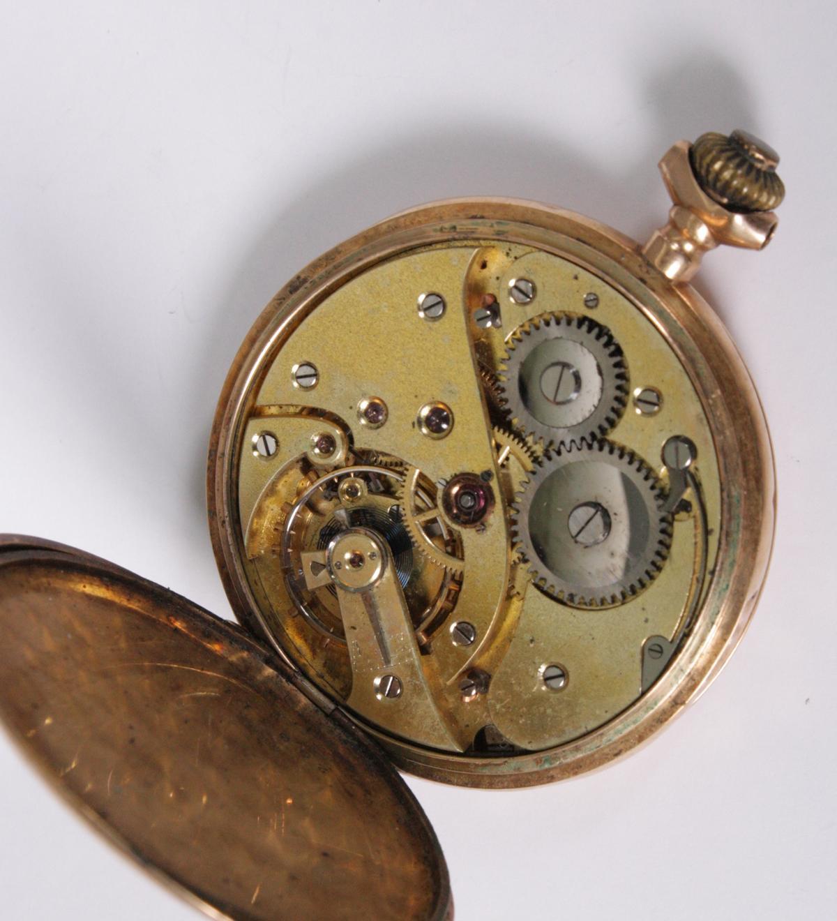 Goldene Herrentaschenuhr, 14 Karat Gelbgold-5