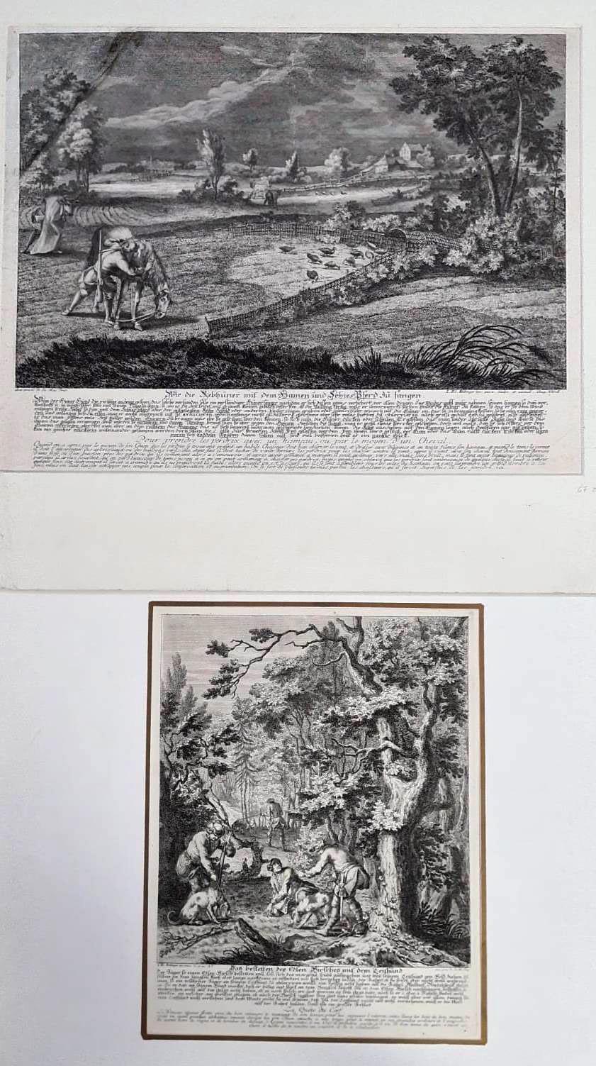 Johann Elias Ridinger, (1698 Ulm – 1767 Augsburg.) 2 Jagd Kupferstiche von 1729