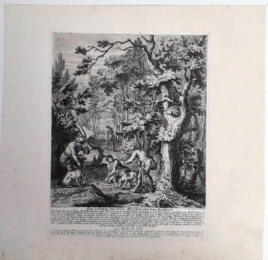 Johann Elias Ridinger, (1698 Ulm – 1767 Augsburg.) 2 Jagd Kupferstiche von 1729-2