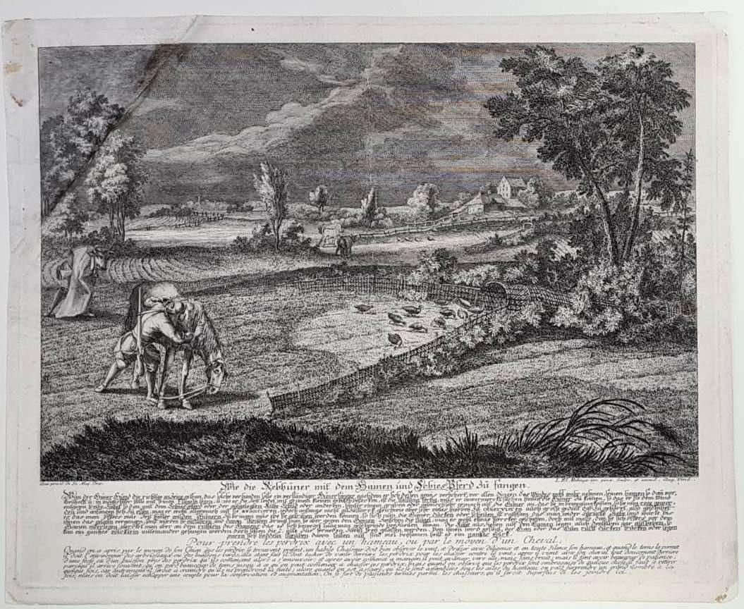 Johann Elias Ridinger, (1698 Ulm – 1767 Augsburg.) 2 Jagd Kupferstiche von 1729-3