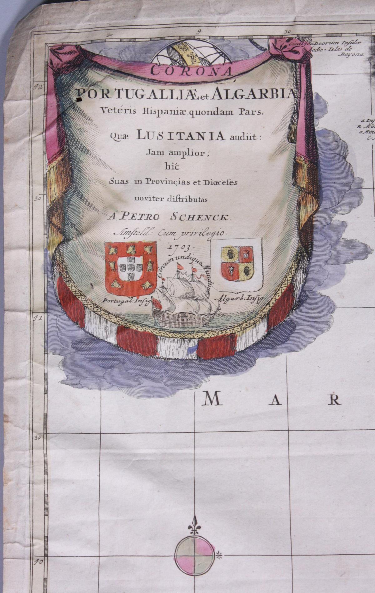 Kupferstich-Karte von Petrus Schenk, datiert 1703, altkoloriert-2