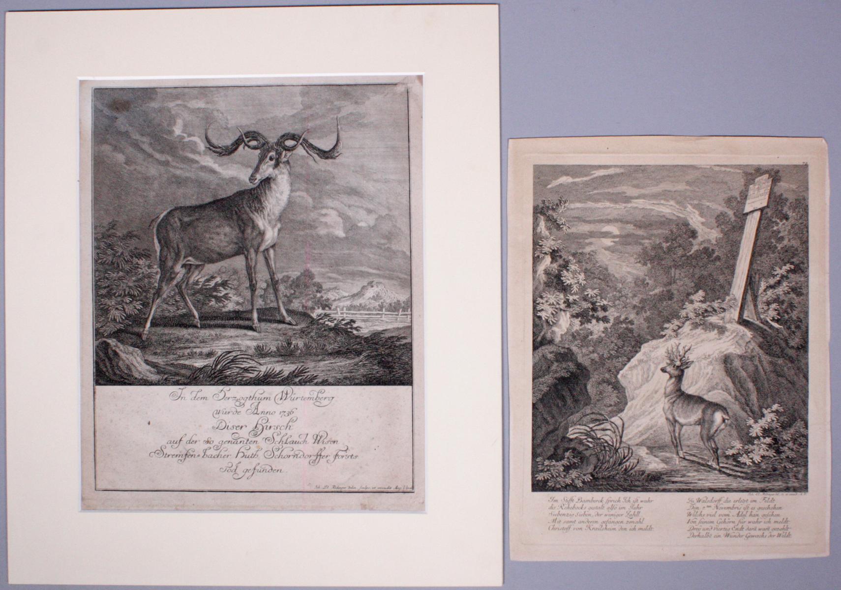 Johann Elias Ridinger (1698-1767). 2 Kupfertische
