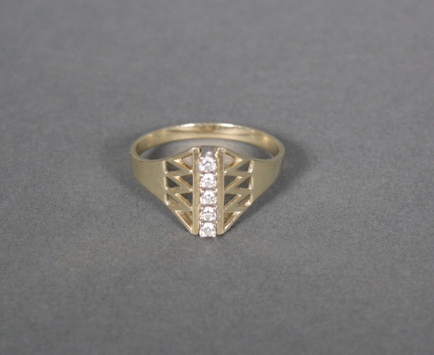 Damenring mit Diamanten, 14 Karat Gelbgold