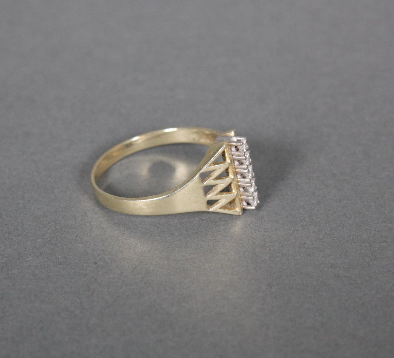 Damenring mit Diamanten, 14 Karat Gelbgold-2