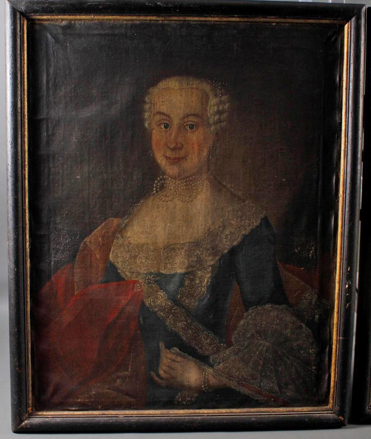 Damen und Herrenportrait. Deutsch 18. Jahrhundert-3