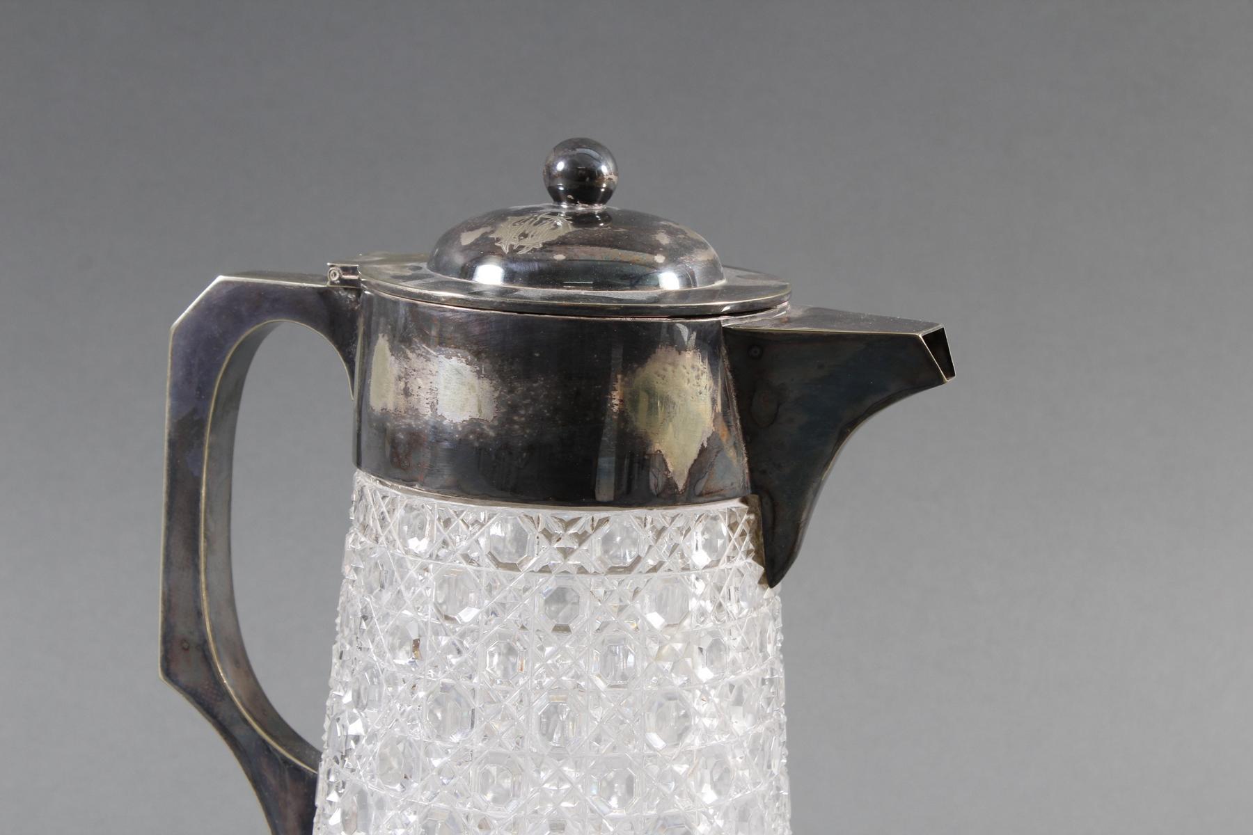 Schwere Kristallkaraffe mit versilberter Montur, 1. Hälfte 20. Jahrhundert-2