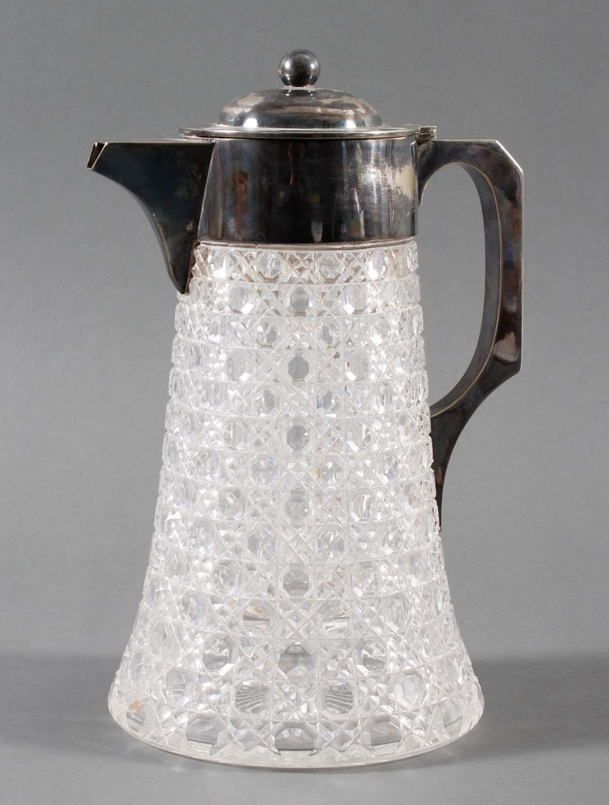 Schwere Kristallkaraffe mit versilberter Montur, 1. Hälfte 20. Jahrhundert-3