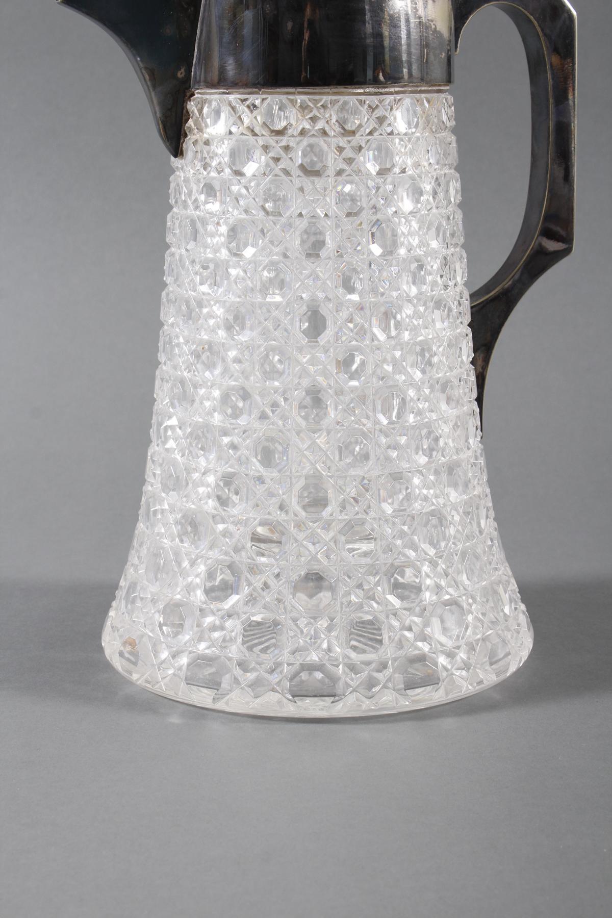 Schwere Kristallkaraffe mit versilberter Montur, 1. Hälfte 20. Jahrhundert-4