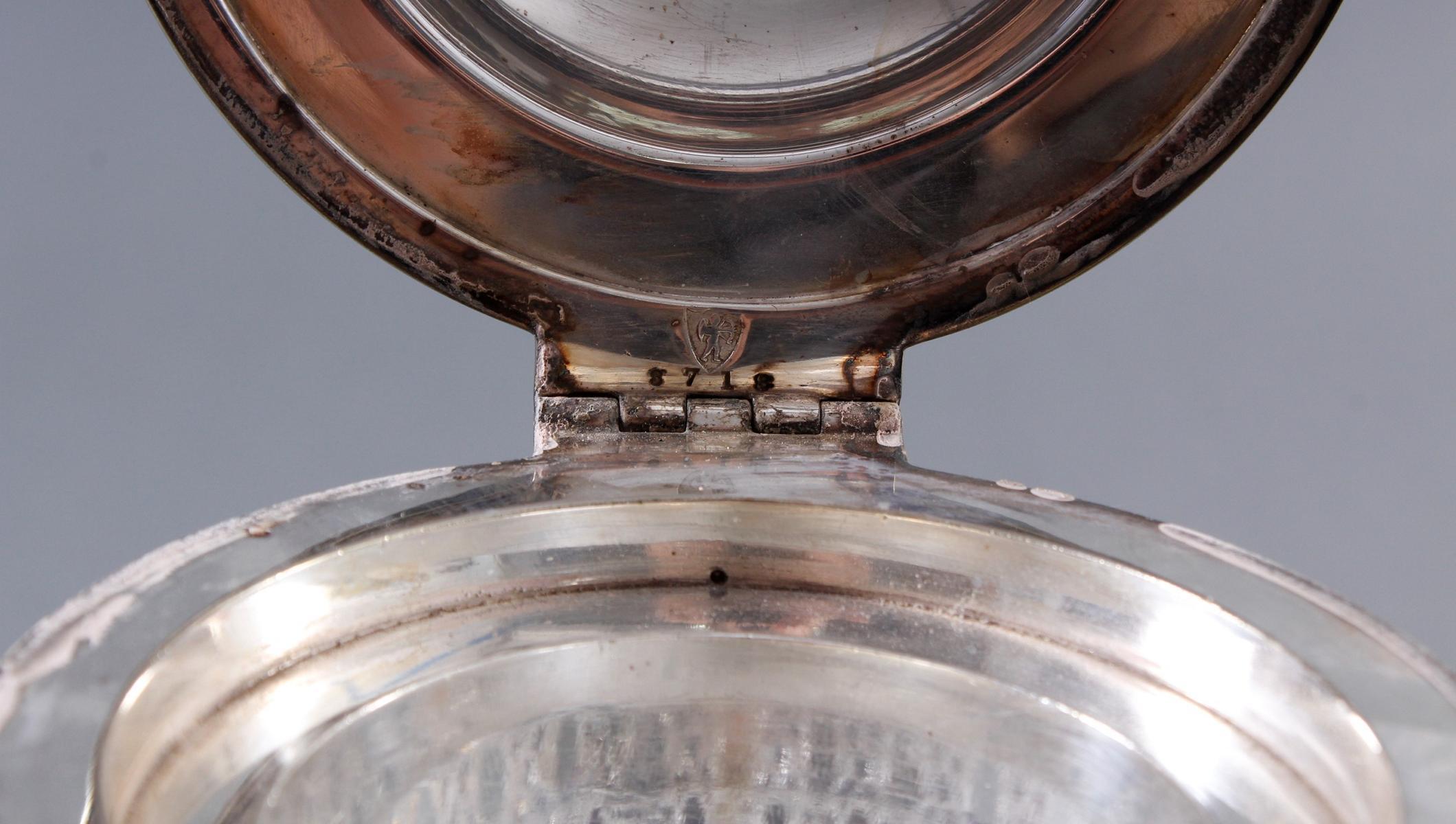 Schwere Kristallkaraffe mit versilberter Montur, 1. Hälfte 20. Jahrhundert-6
