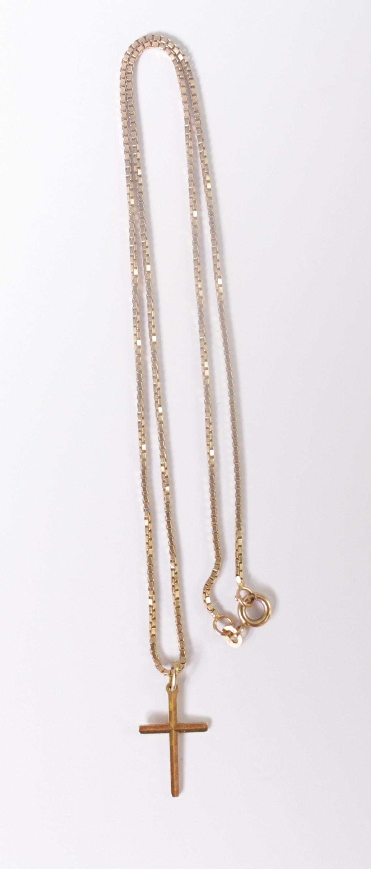 Halskette mit Kreuzanhänger 14 Karat Gelbgold-2