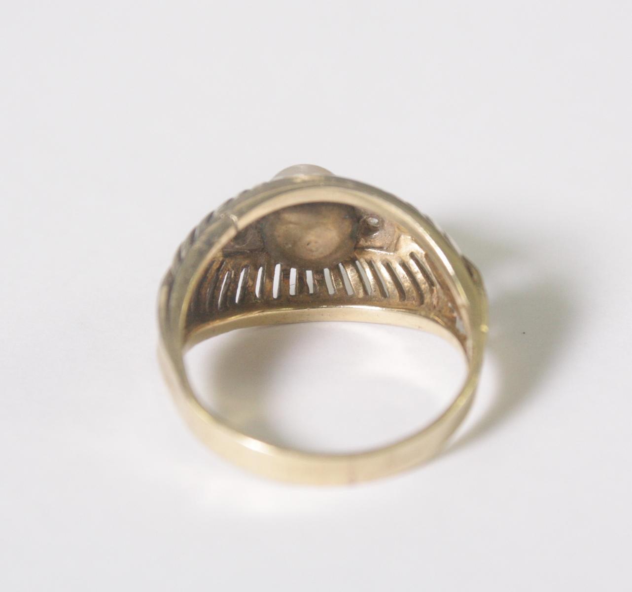 Damenring mit Perle und 2 Diamanten, 14 Karat Gelbgold-4