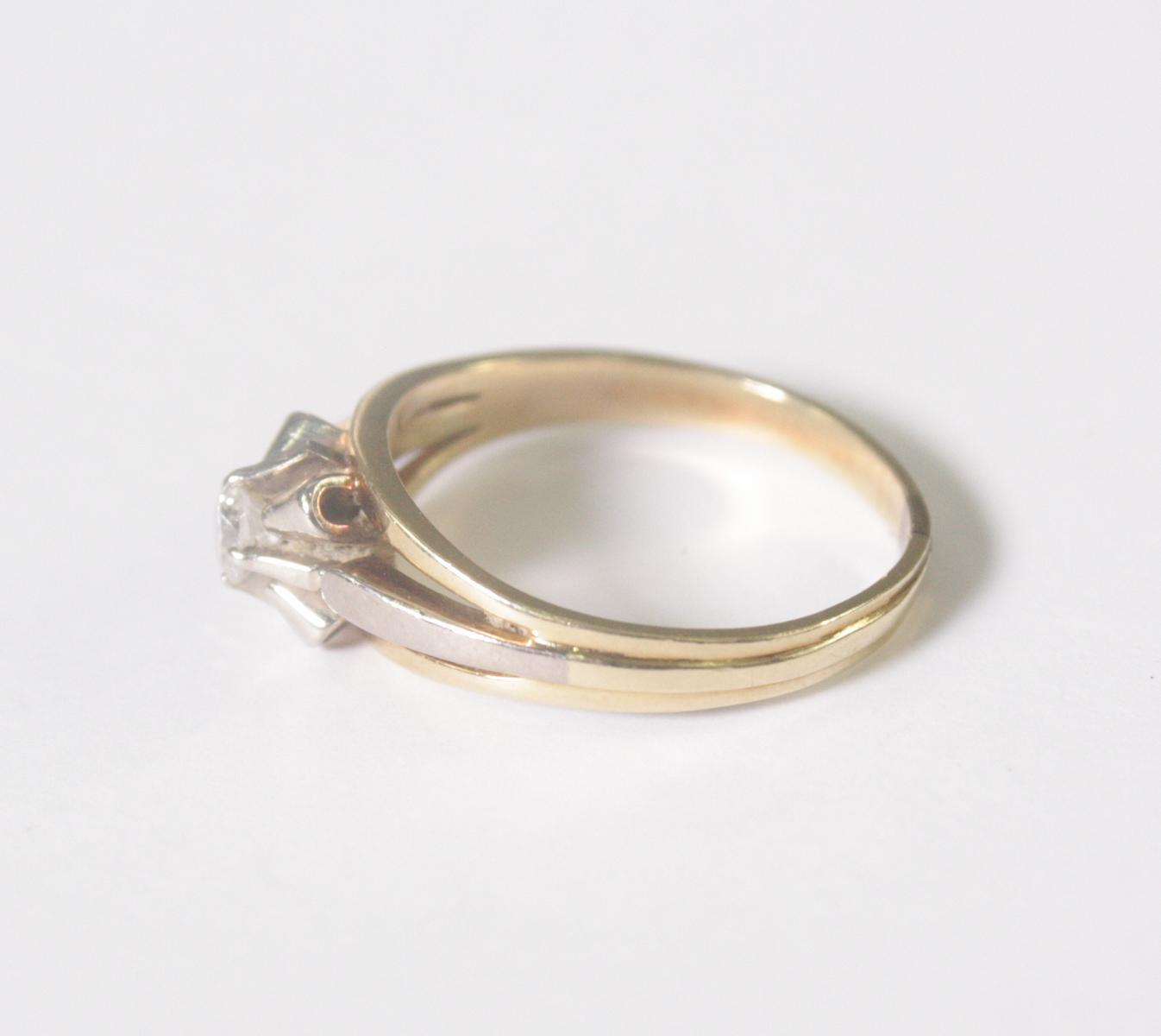 Damenring mit Diamant, 14 Karat Gelbgold-3