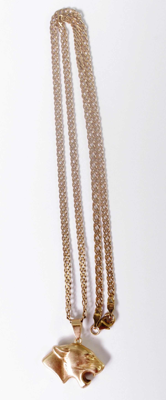 Halskette aus 8 Karat Gelbgold mit Tigeranhänger aus 14 Karat Gelbgold-2