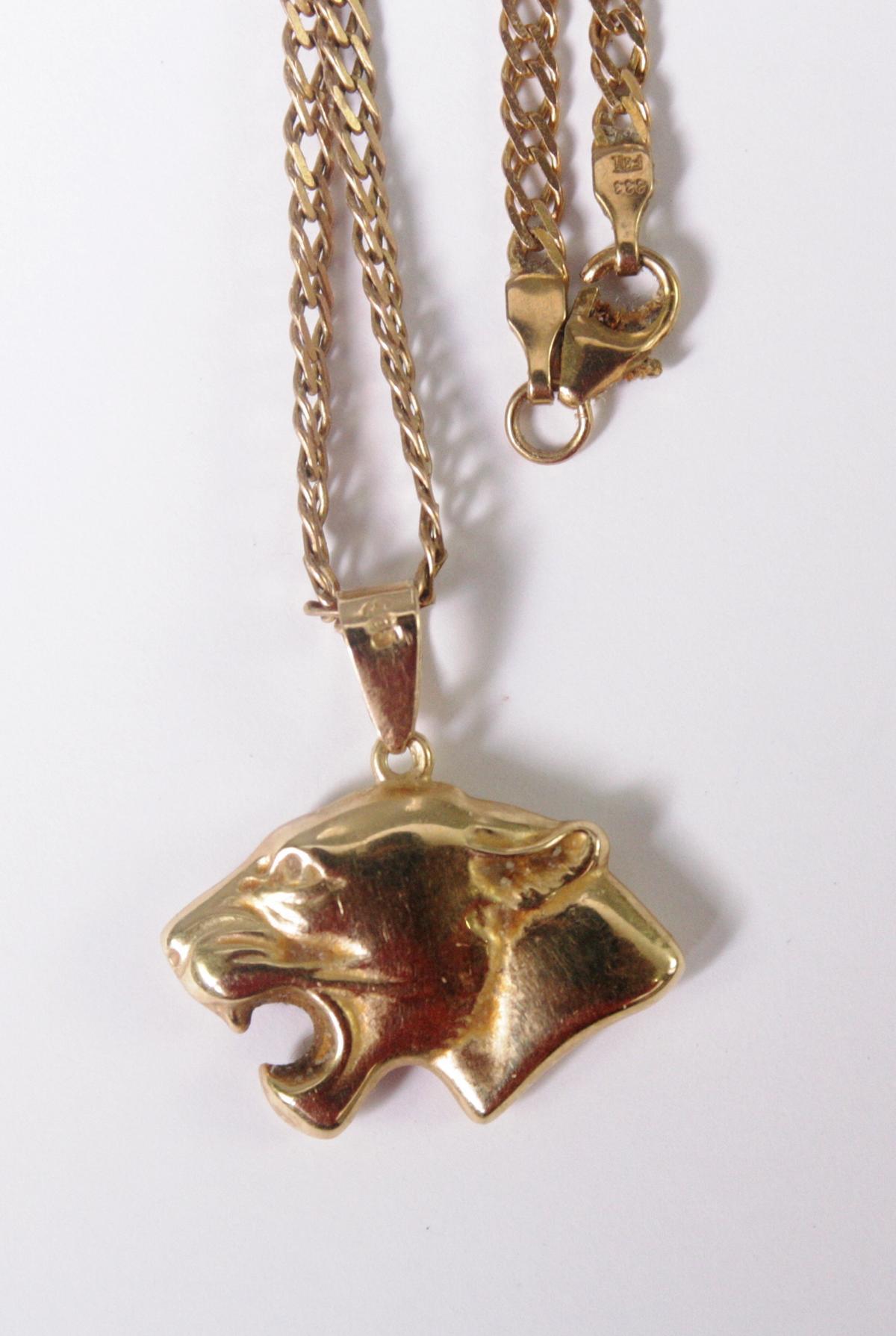 Halskette aus 8 Karat Gelbgold mit Tigeranhänger aus 14 Karat Gelbgold-3