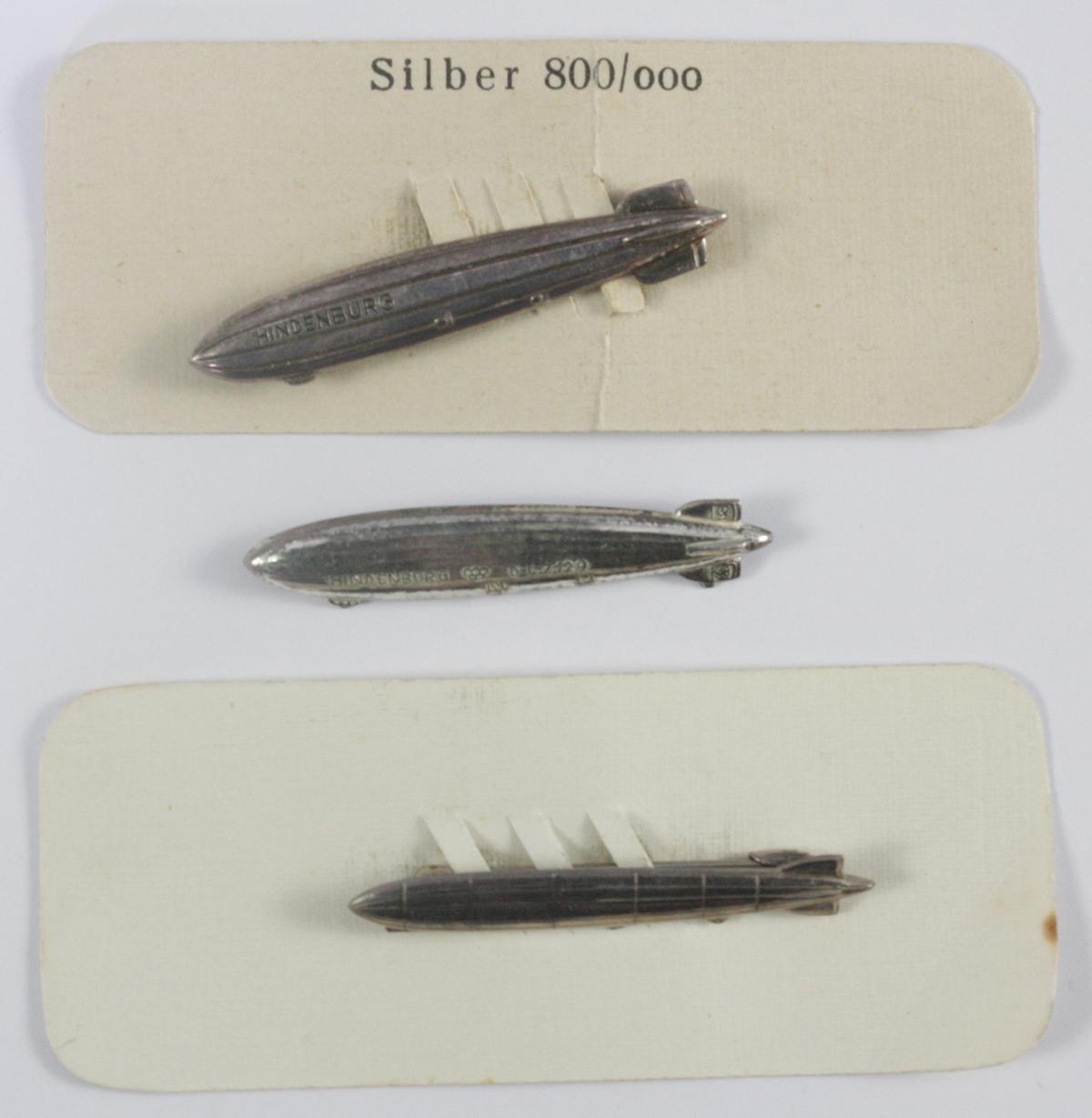 3 Anstecker, 800er Silber, Zeppelin, III. Reich