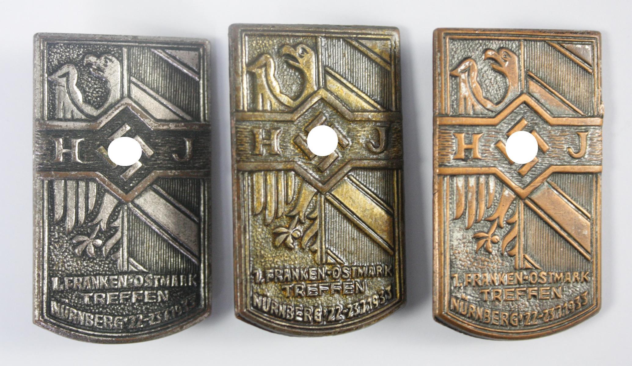 3x Treffenabzeichen: 1. Franken-Ostmark-Treffen der HJ 1933