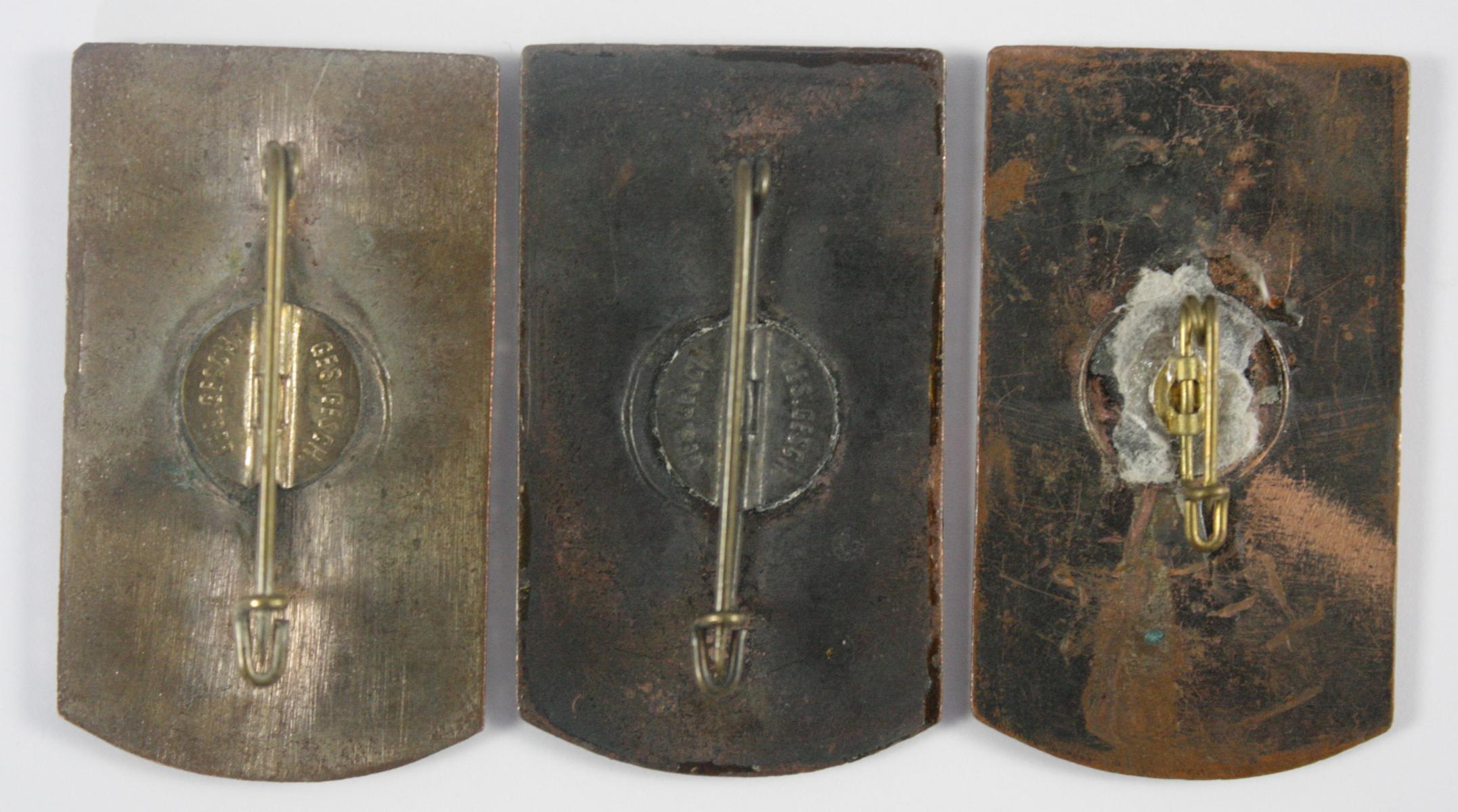 3x Treffenabzeichen: 1. Franken-Ostmark-Treffen der HJ 1933-2