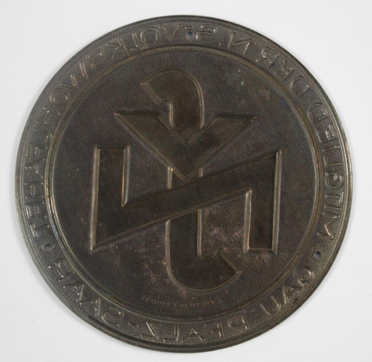 Kleine Türplakette NSV – Mitglied der NS Volkswohlfahrt Gau Pfalz-Saar-2