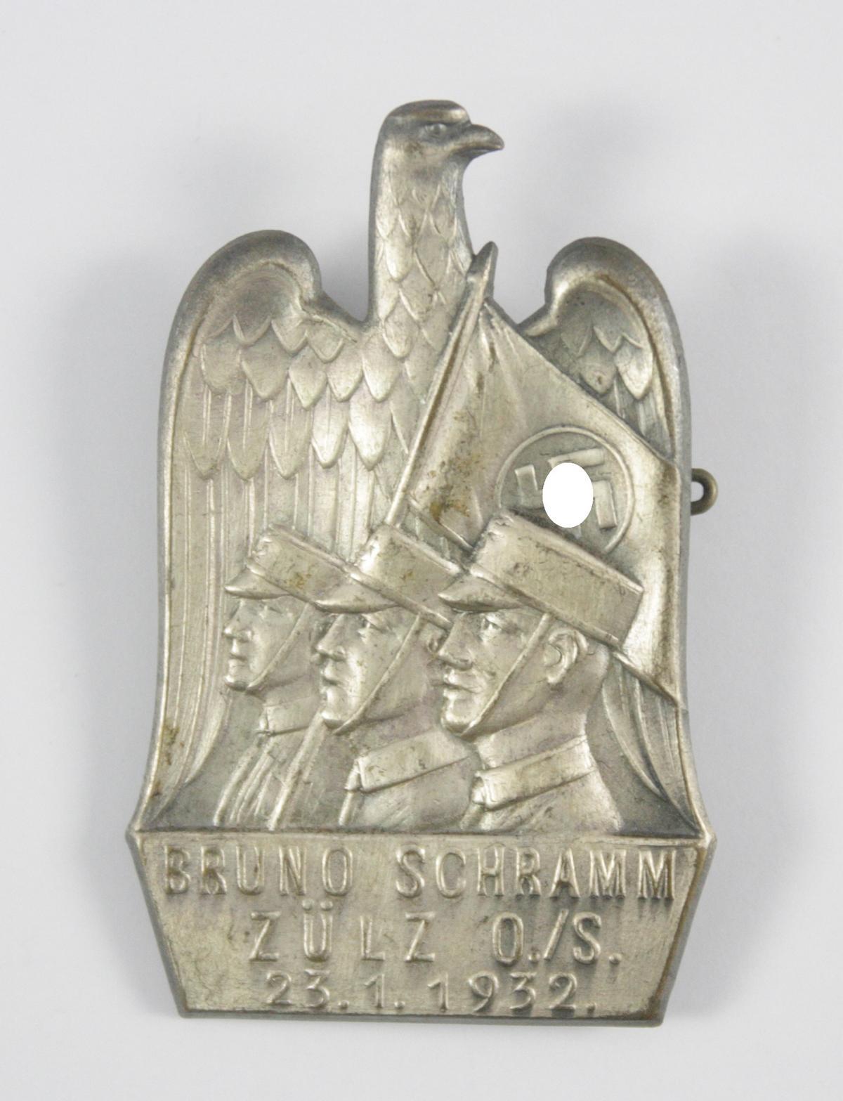 Erinnerungsabzeichen: (SA Märtyrer) Bruno Schramm Zülz O./S. 23.01.1932
