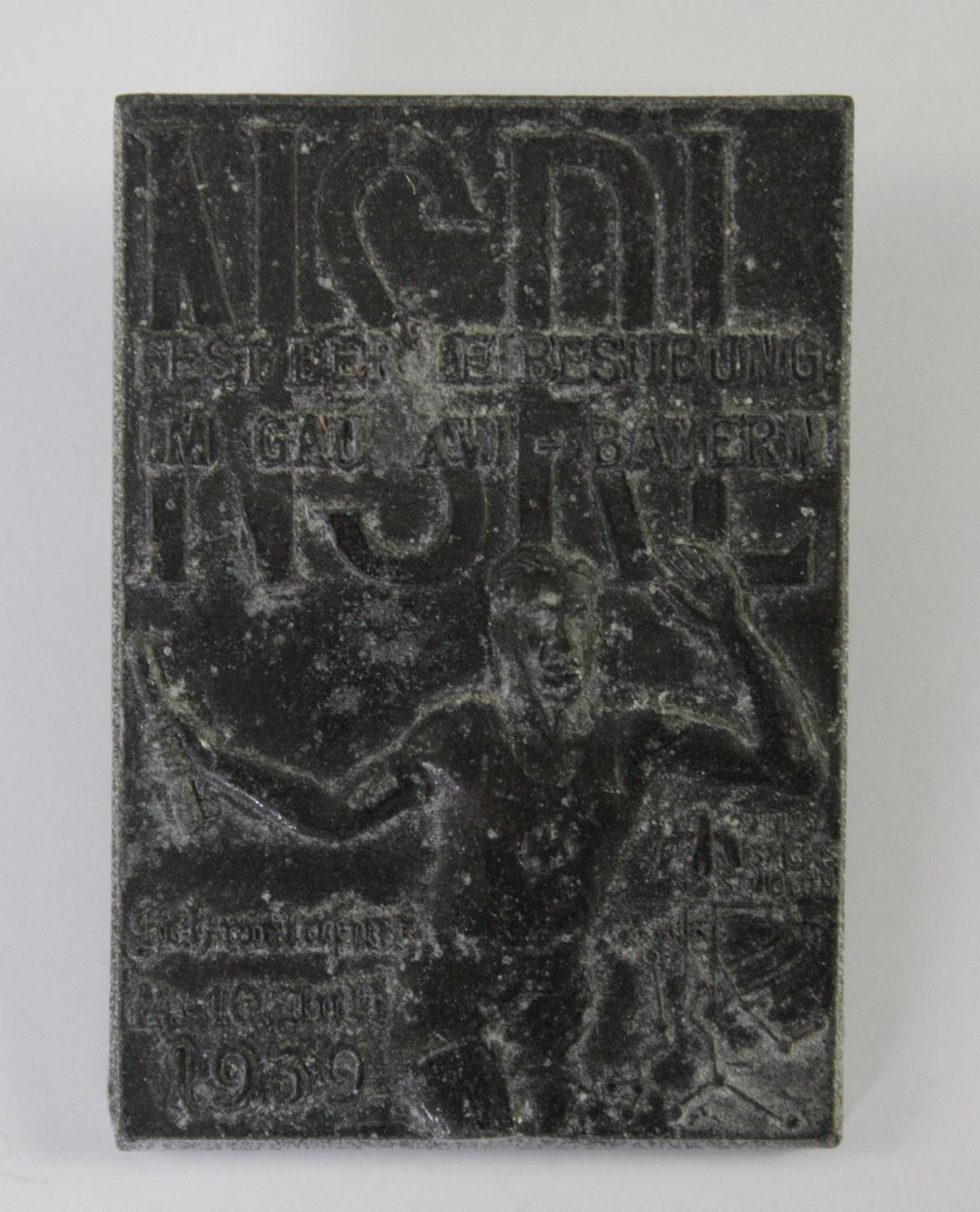 Abzeichen: NSRL. Fest der Leibesübung im Gau XVI – Bayern. Schweinfurt 1939