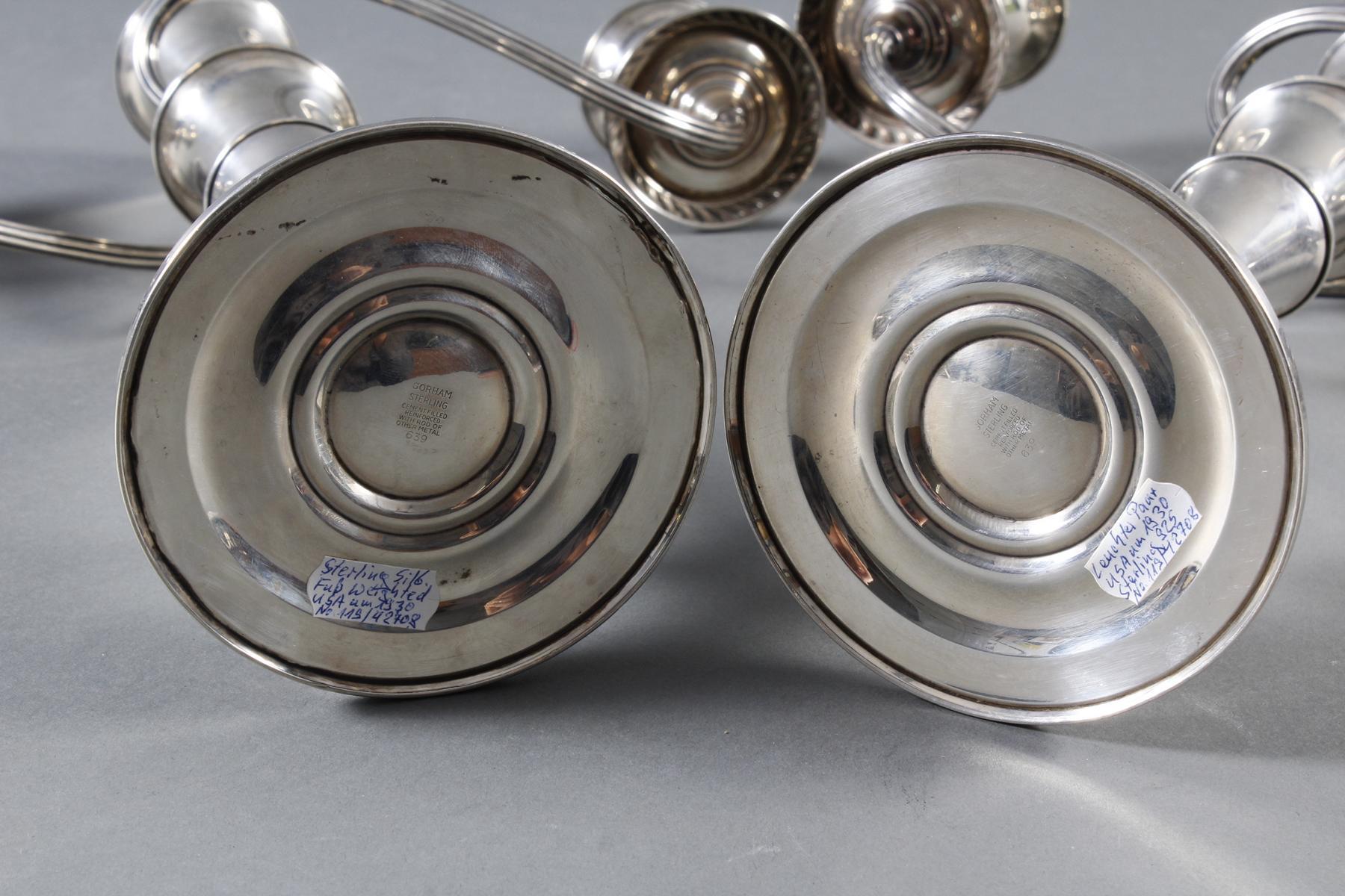 Paar Silberleuchter, USA um 1930-7