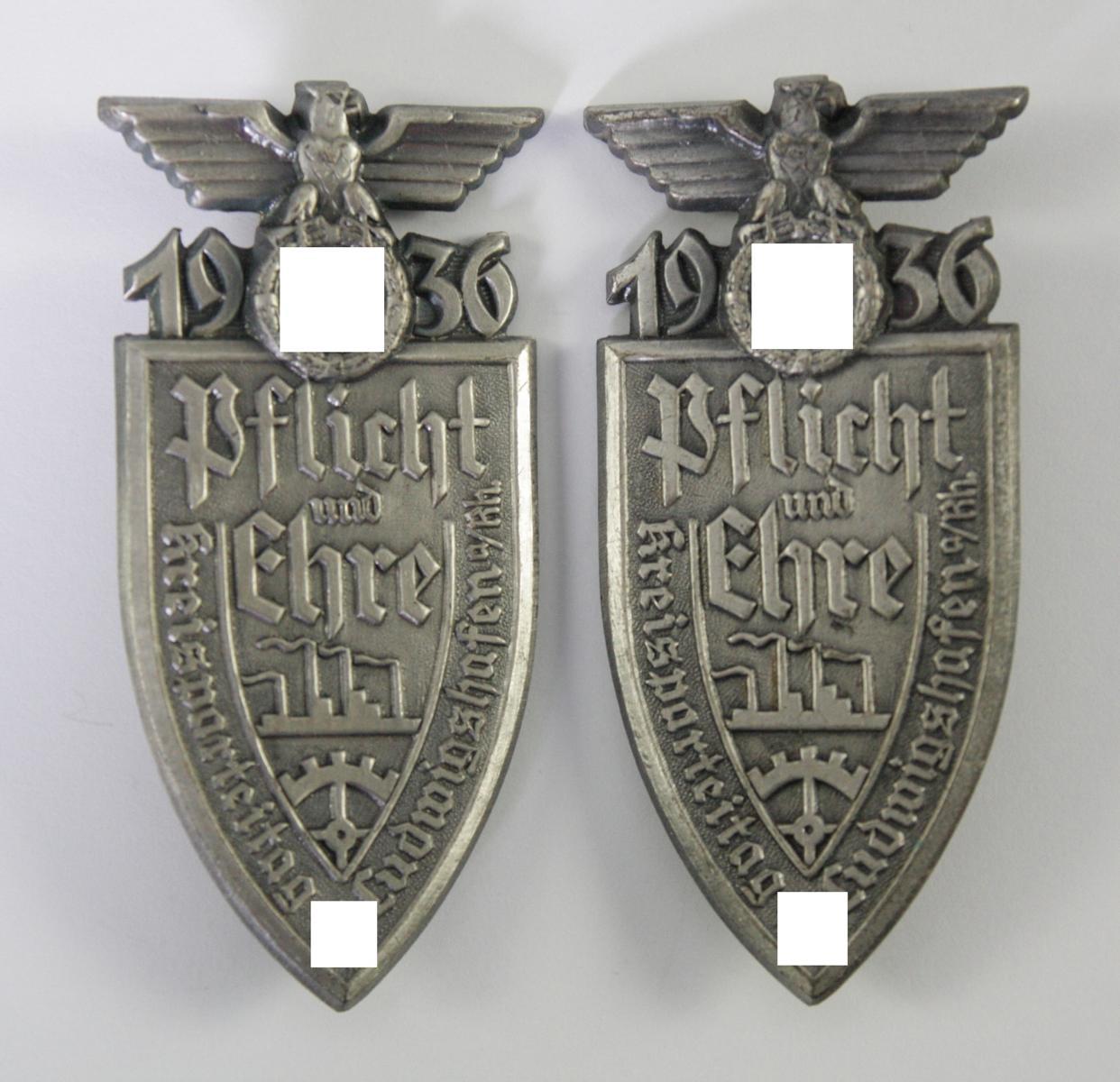 2x Abzeichen, Kreisparteitag Ludwigshafen 1936 'Pflicht und Ehre'