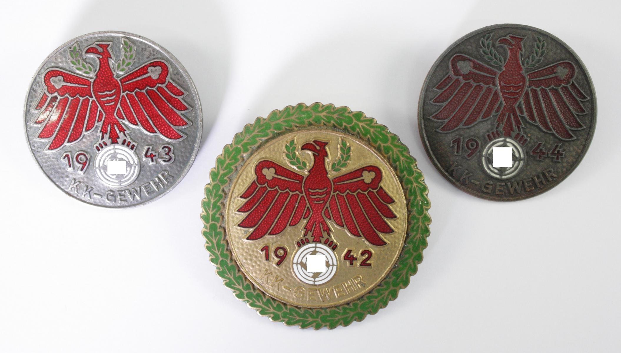 3x Standschützen, Schieß-Abzeichen Tirol KK-Gewehr