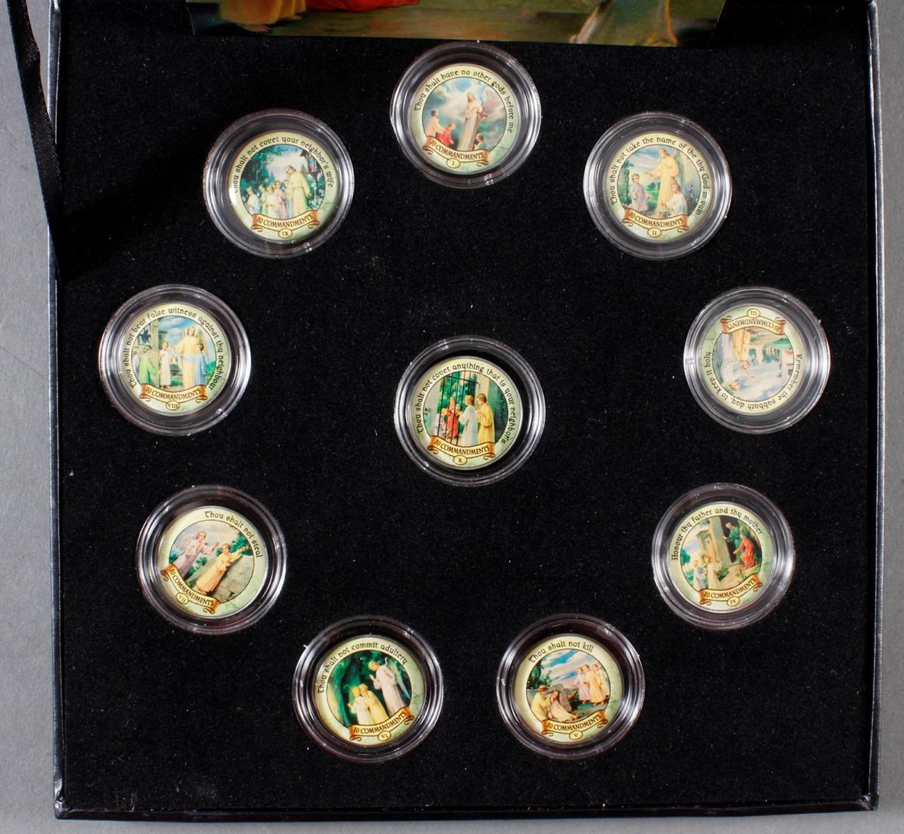 2 Sets kolorierte Münzen; Thema Religion-3